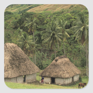 Fiji, Viti Levu, Navala, Traditional Bure houses Square Sticker
