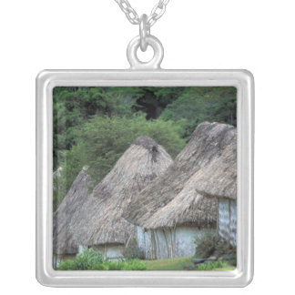 Fiji, Viti, Traditional hut houses. Silver Plated Necklace
