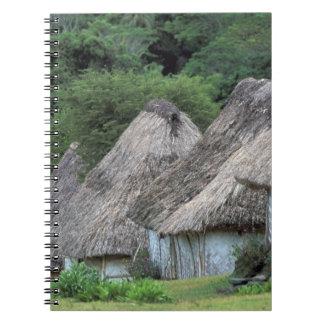 Fiji, Viti, Traditional hut houses. Spiral Notebook