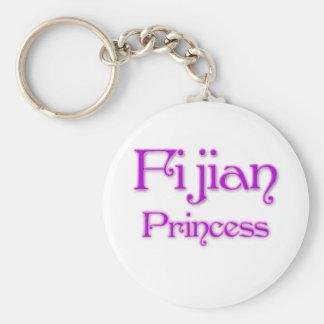 Fijian Princess Basic Round Button Key Ring