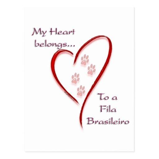 Fila Brasileiro Heart Belongs Postcard