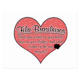 Fila Brasileiro Paw Prints Dog Humor Postcard