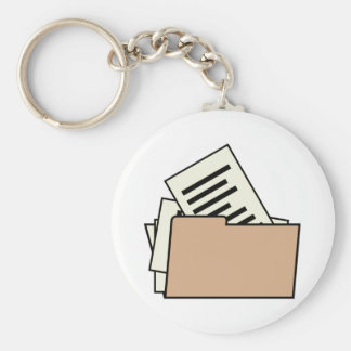 File Folder Basic Round Button Key Ring