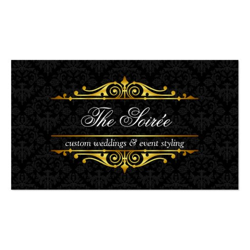 Filigree and Damask Event Planner Business Cards