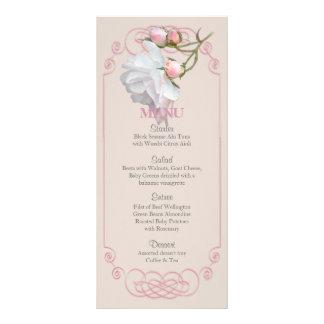Filigree and Vine Roses Wedding Menu Personalized Rack Card