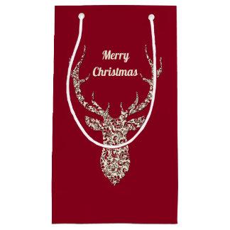 Filigree Christmas Deer Small Gift Bag