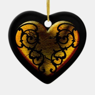 Filigree Goth Gold Heart Christmas Ornament