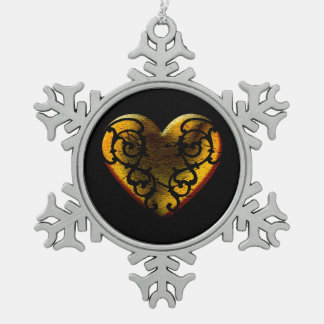 Filigree Goth Gold Heart Snowflake Pewter Christmas Ornament