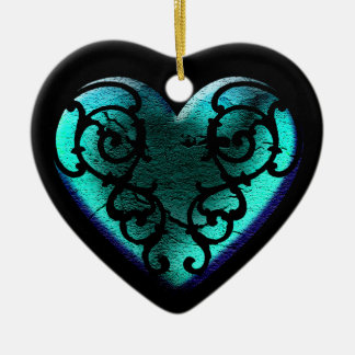 Filigree Goth Ice Blue Heart Christmas Ornament