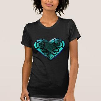 Filigree Goth Ice Blue Heart T-Shirt