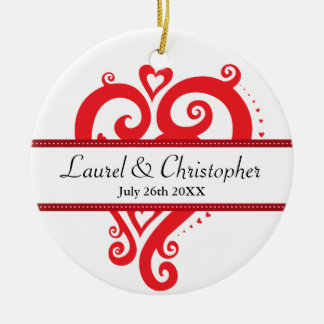 Filigree Heart Save the Date Christmas Ornament