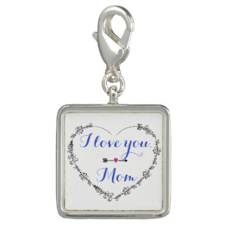 Filigree Heart with I Love You Mom Charm