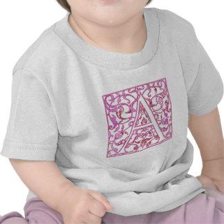 Filigree Pink A Monogram Tshirts