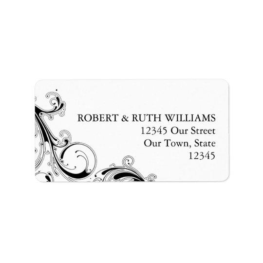 Filigree Swirl Black w/White Address Label