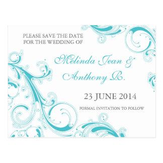 Filigree Swirl Blue Curacao Save the Date Postcard