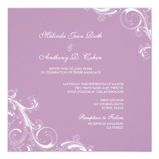 Filigree Swirl Violet 13 Cm X 13 Cm Square Invitation Card