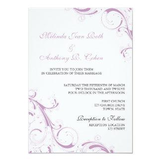 Filigree Swirl Violet 13 Cm X 18 Cm Invitation Card