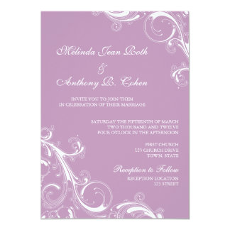 Filigree Swirl Violet 5x7 Wedding 13 Cm X 18 Cm Invitation Card
