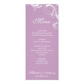 Filigree Swirl Violet Menu 10 Cm X 24 Cm Invitation Card