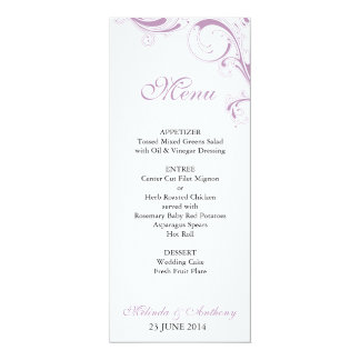 Filigree Swirl Violet Menu Card