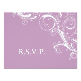 Filigree Swirl Violet RSVP 11 Cm X 14 Cm Invitation Card