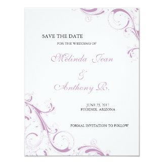 Filigree Swirl Violet Save the Date 11 Cm X 14 Cm Invitation Card