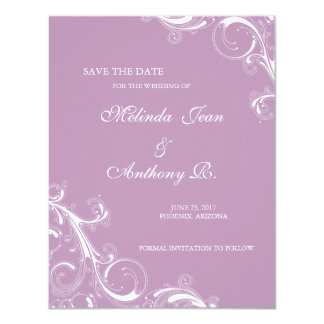 Filigree Swirl Violet Save the Date 11 Cm X 14 Cm Invitation Card