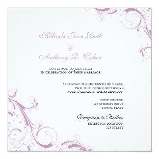 Filigree Swirl Violet Square Wedding 13 Cm X 13 Cm Square Invitation Card