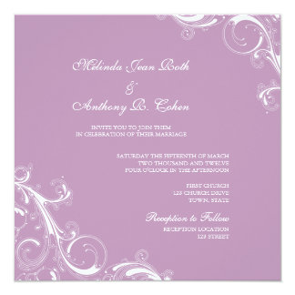 Filigree Swirl Violet Square Wedding Personalized Announcements