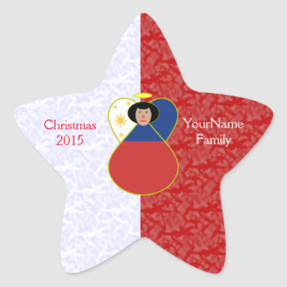 Filipino Angel Flag Red White Star Sticker