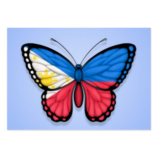 Filipino Butterfly Flag on Blue Business Card Templates