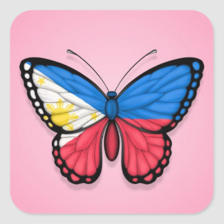 Filipino Butterfly Flag on Pink Square Sticker