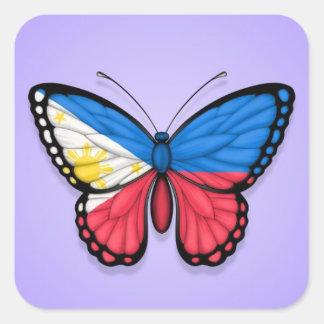 Filipino Butterfly Flag on Purple Stickers