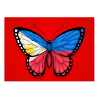 Filipino Butterfly Flag on Red Business Card Templates