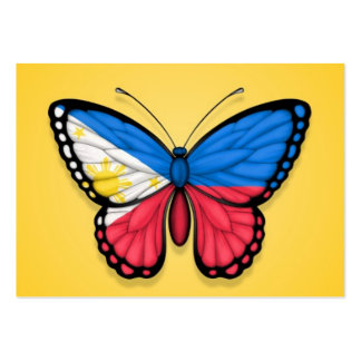 Filipino Butterfly Flag on Yellow Business Cards