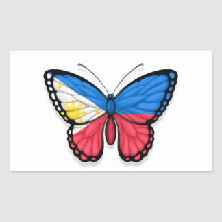 Filipino Butterfly Flag Rectangle Sticker
