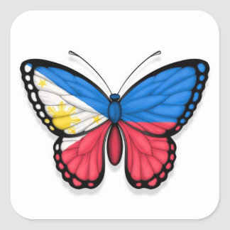 Filipino Butterfly Flag Square Sticker