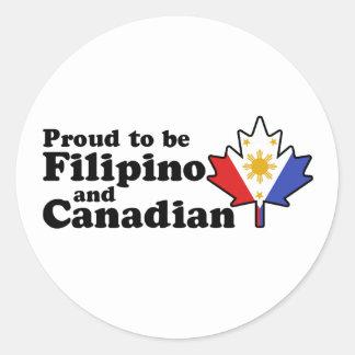 Filipino Canadian Round Stickers