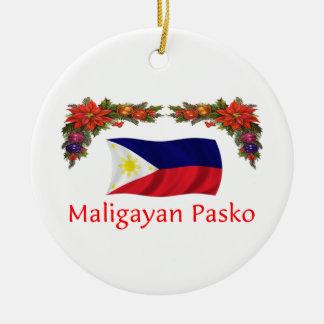 Filipino Christmas Round Ceramic Decoration