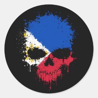 Filipino Dripping Splatter Skull Stickers