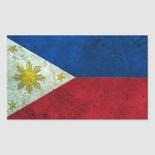 Filipino Flag Aged Steel Effect Rectangle Sticker