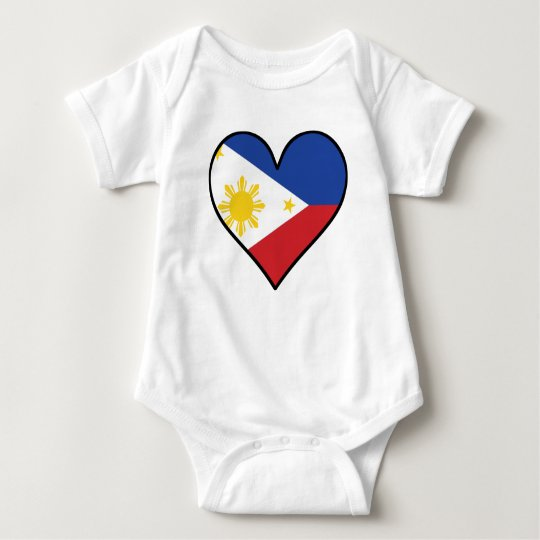 Filipino Flag Heart Baby Bodysuit