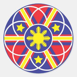 Filipino Flag Mandala Round Sticker