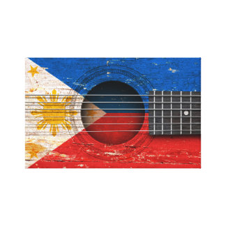 Filipino Flag on Old Acoustic Guitar Stretched Canvas Prints