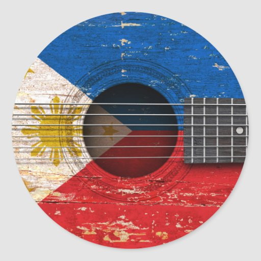 Filipino Flag on Old Acoustic Guitar Round Sticker