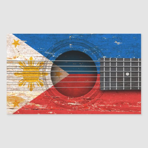 Filipino Flag on Old Acoustic Guitar Stickers