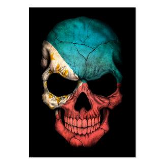 Filipino Flag Skull on Black Business Card Templates