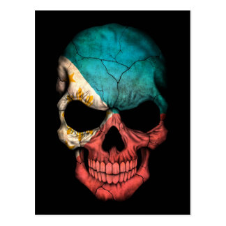 Filipino Flag Skull on Black Postcard