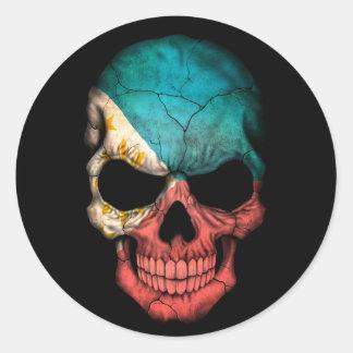 Filipino Flag Skull on Black Stickers