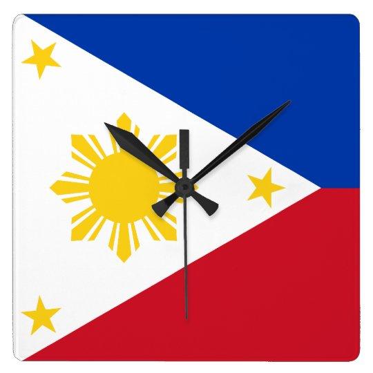 Filipino Flag Square Wall Clock